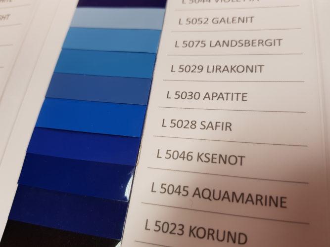 DPS Farbkarte mit Blautönen